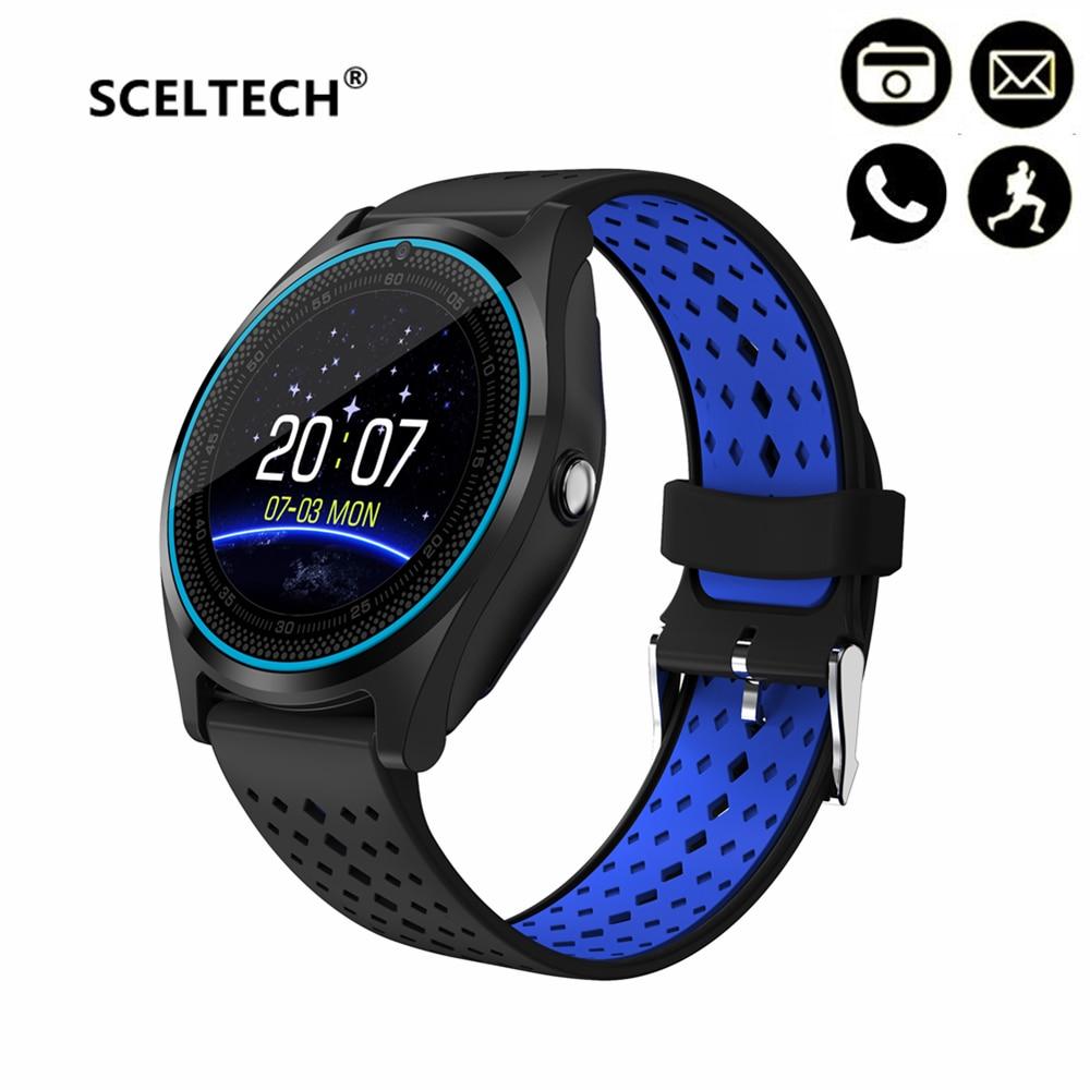 SCELTECH V9 reloj inteligente con cámara Bluetooth Smartwatch tarjeta SIM reloj de pulsera para teléfono Android dispositivos PK Q18 X6 DZ09