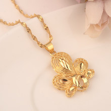 Bangrui Dubai india gold peacock for Women Ethiopian Pendant Necklace Gold Color Jewelry Africa Arab Flower party wedding Gifts(China)