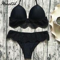 Hecatal 2018 Solid Lace Sexy Swimsuit Women Low High Waist Push Up Brazilian Bikini Vintage Bikinis