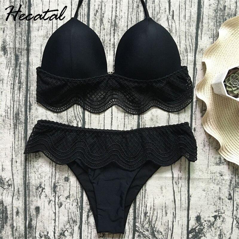 Hecatal 2018 Solid Lace Sexy Swimsuit Women Low&High Waist Push Up Brazilian Bikini Vintage Bikinis Female maillot de bain femme