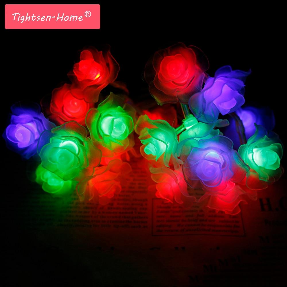 2M Rose Battery String  20 LED Novelty Rose Flower Holiday Lights Romantic Fairy Wedding Party Christmas Decoration Garden light