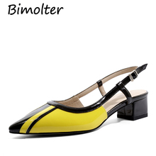 Bimolter Women Sandals 2019 Summer Geometric Pointed High Heels Buckle Ladies Cow Leather Party Womans Pumps NEW NB064