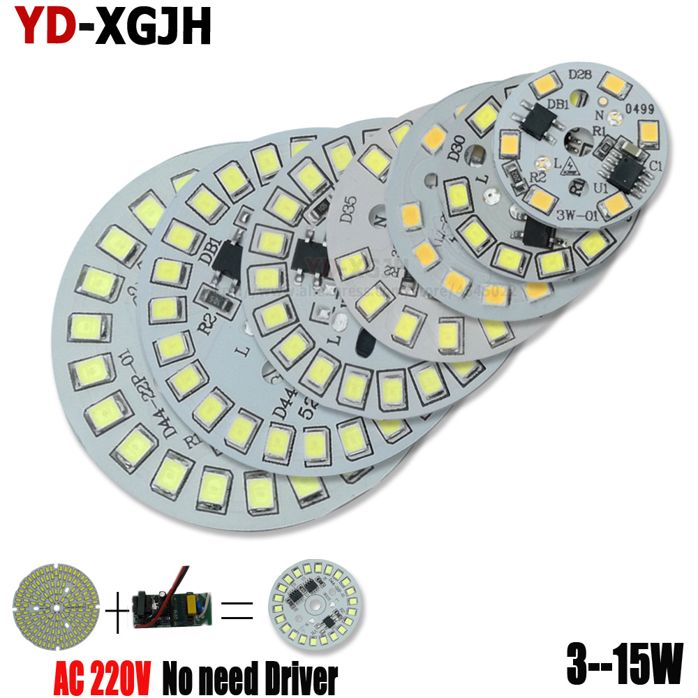2pcs 3W 5W 7W 9W 12W 15W AC 220V Smart IC Driver Led Pcb Lamp Panel 2835 SMD Integrated Light Source For LED Blub Downlight DIY