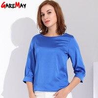 Garemay Feminine Satin Blouse Work Wear Plus Size Silk Blouse Women Summer Top Femme Office Shirt