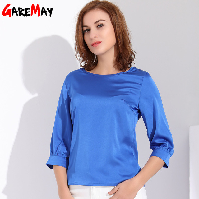 Garemay Feminino Blusa De Cetim Desgaste do Trabalho Plus Size Blusa De Seda Das Mulheres de Verão Top Femme Camisa Escritório Mulheres Blusa Para Mulher