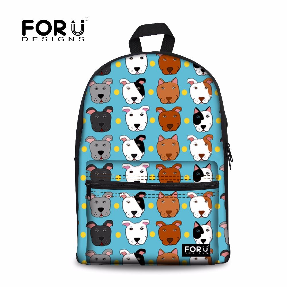 FORUDESIGNS School Bags Backpack Schoolbag Bull Terrier Printing Children Backpacks Teenage Boys School Satchel Kids Bag Mochila