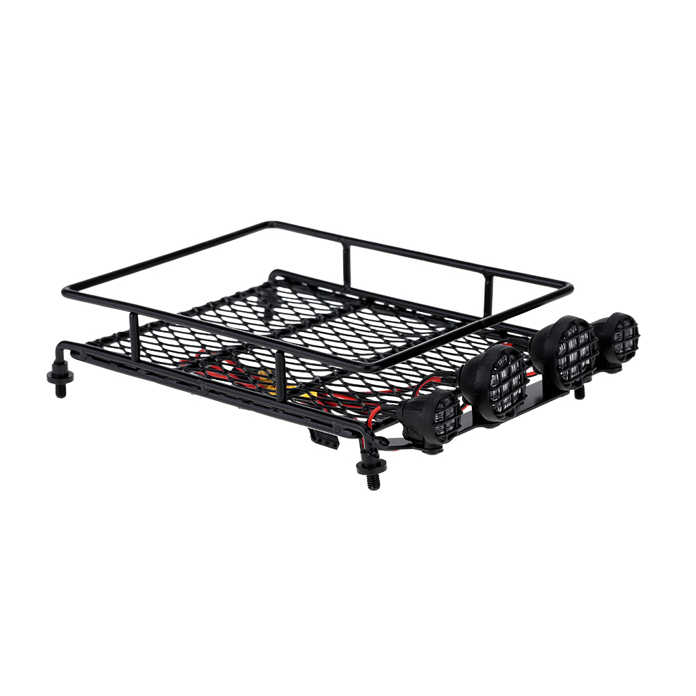 Aluminum Austar Roof Luggage Rack Bar W/ 4 LED Light for 1/10 1/8 hsp RC Car Rock Crawler Rally 4WD CC01 CR01 D90 AXIAL SCX10 P5