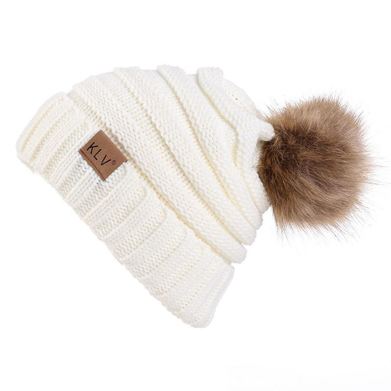 Winter Warm Knitted Cap Hat Women Braid   Skullies     Beanies   With Pompom Fur Ball Knit Hats Outdoor Thick Warm Ski Caps Bonnet Hat
