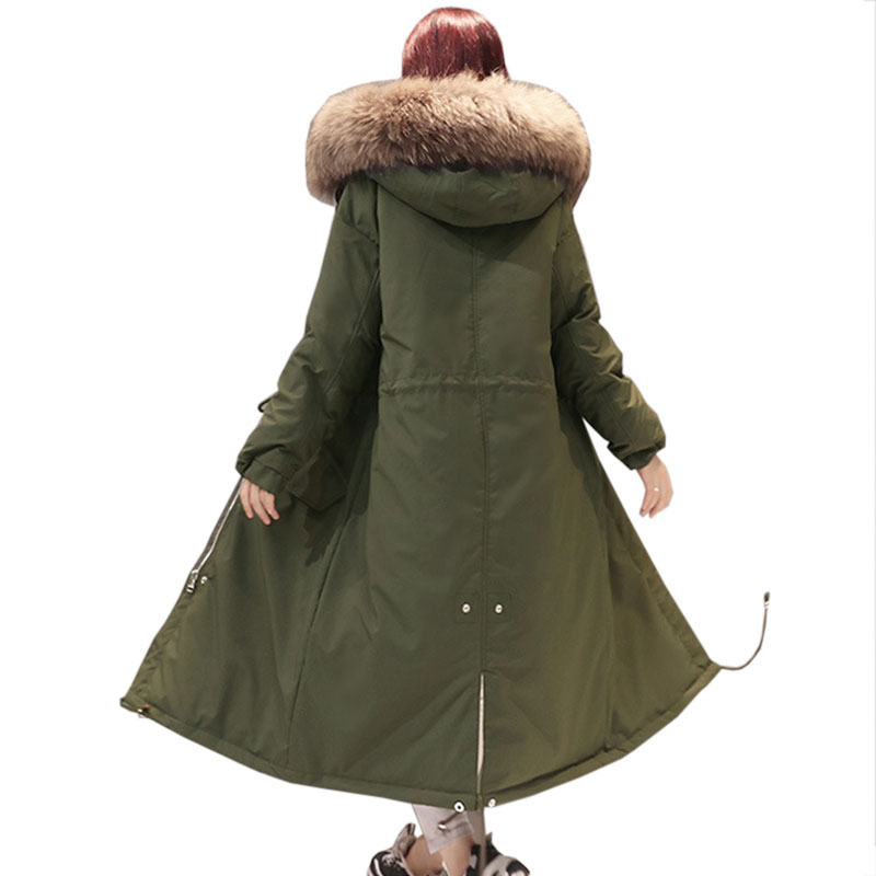 Women Winter Down jacket Hooded Big Fur collar Long Coat Fluffy White Duck down Warm Thicken Jackets Female New Slim Parkas X315
