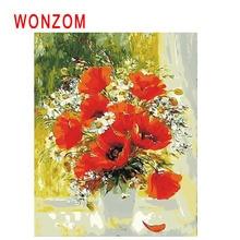 WONZOM Window Flower Pot Diy Painting By Numbers Mum Oil Cuadros Decoracion Acrylic Paint On Canvas Modern Wall Art New