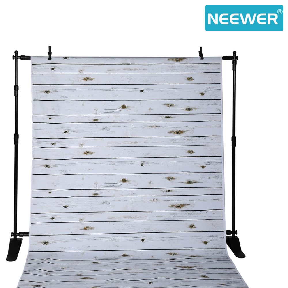 Neewer 1.5x2.1 meters 100% Polyester Striped Wooden Photography Backdrop Background White Washed Wood for Studio Video Shooting