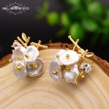 XlentAg Natural Fresh Water Baroque Pearl Drop Womens Earrings Wedding Dangle Luxury Handmade Fine Jewelry GE0309