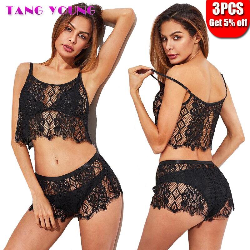2019 New Women Sexy Lingerie   Set   See Through Underwear   Set   Lace Hollow Out   Bra     Set   Tempation Babydoll Sleepwear Lingerie