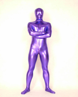 Cosplay Purple Full Body Spandex Latex/Rubber Zentai Suit Catsuit Adult Costumes Fancy Dress