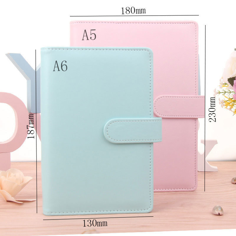 Sale Cute A5 A6 Candy Color Leather notebook 6 Hole Loose Leaf Spiral Binder Diary Weekly Planner Agenda WJ-XXWJ511- yiwi a6 creative leather notebook a5 a6 loose leaf spiral notebook diary kawaii notebooks and jourals cute agenda planner
