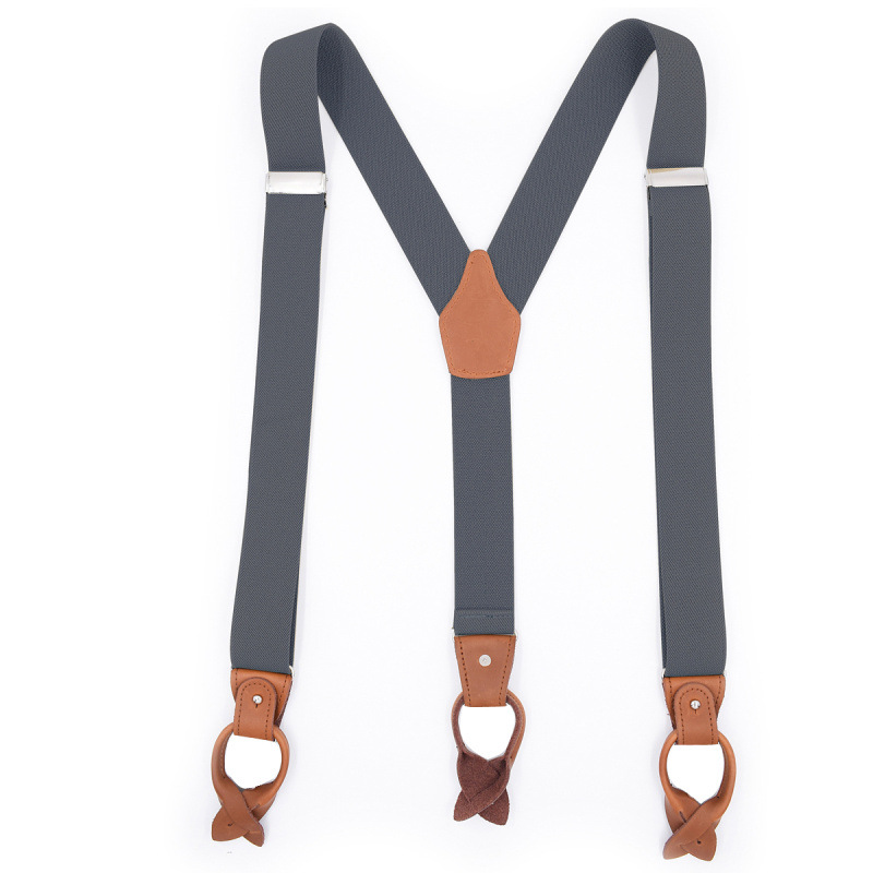 Fashion Trend New Men's 6 Clip Button Adult Strap Brown Leather Casual Suspender Belt Extended Version