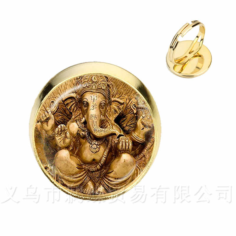 Glass Time Gem Rings 16mm Ganesha Buddha Elephant Silver/Golden Plated Adjustable Ring Handmand Silver/Golden Plated Classic