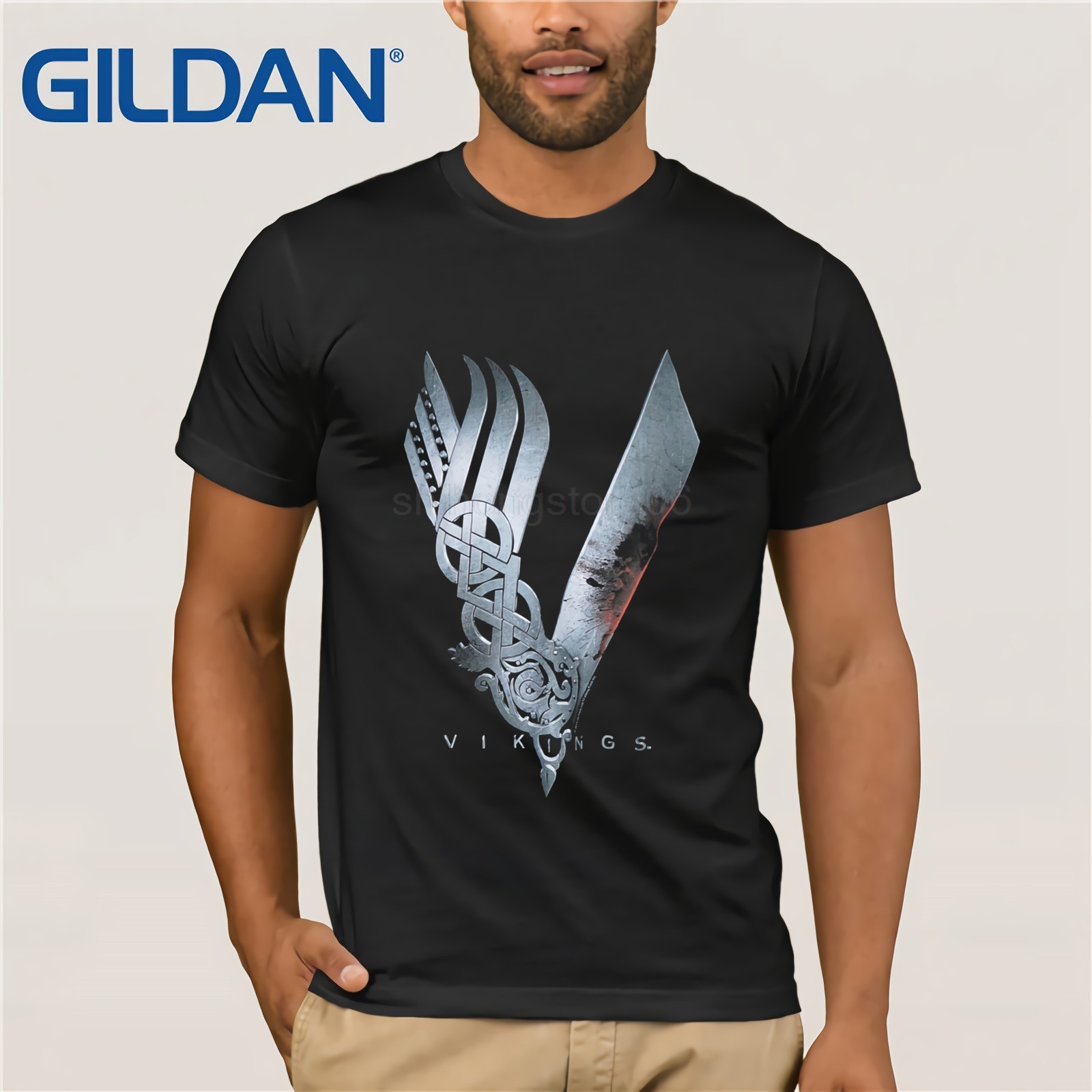 Gildan New   T     Shirts   Unisex Funny Tops Tee Authentic Vikings Tv Series V Logo Black   T  -  shirt   S-xxl New