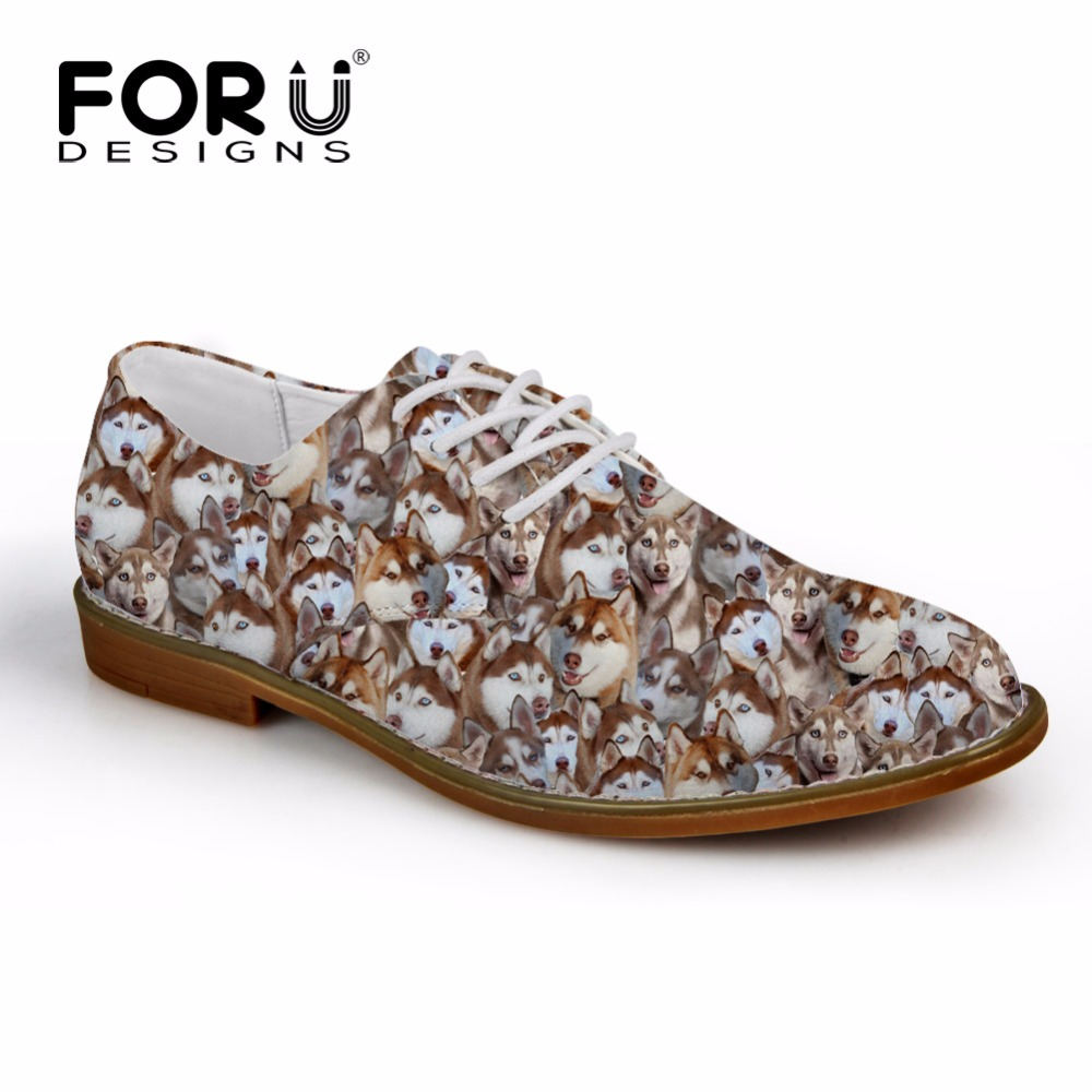 FORUDESIGNS Spring Men Oxfords Shoes Cute Animal Husky Pug Dog Printed Men's Fashion Flats Oxford Shoes Man Casual Dress Shoes