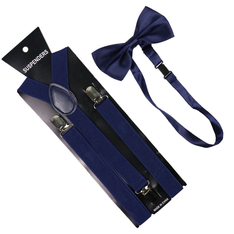 High Quality 2.5cm Wide Navy Blue Womens Suspenders Bow Tie Set Solid Elastic Suspenders And Bowtie Shirt Braces