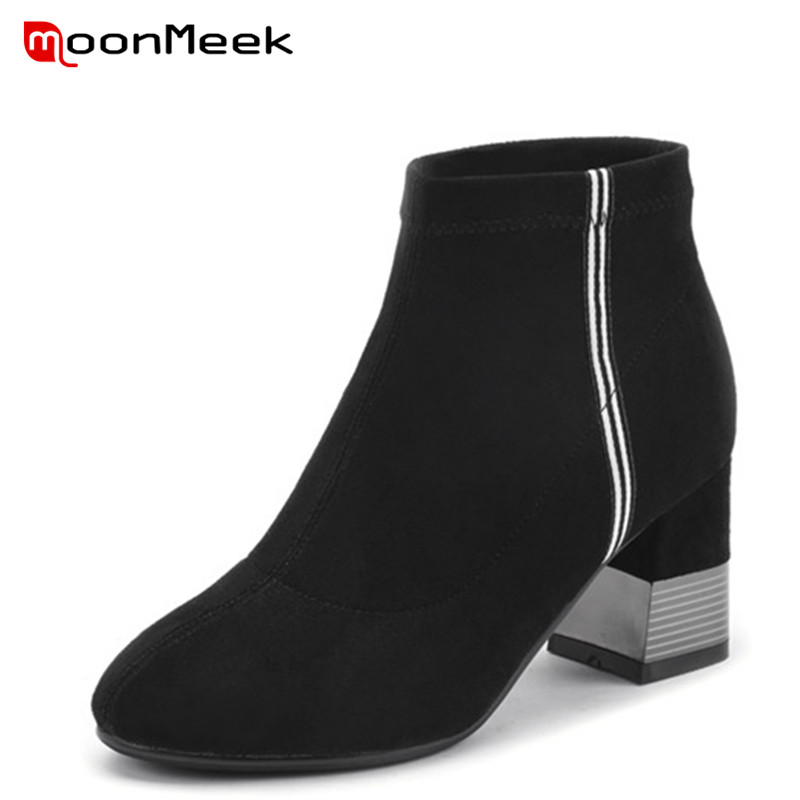 MoonMeek hot sale autumn winter ladies boots round toe ankle boots fashion high heels flock woman boots classic black shoesMoonMeek hot sale autumn winter ladies boots round toe ankle boots fashion high heels flock woman boots classic black shoes