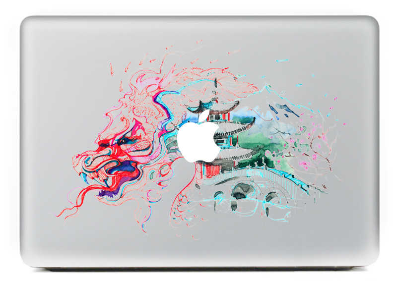 Màu nước architectur cá tính vinyl decal máy tính xách tay sticker cho macbook pro air 13 inch phim hoạt hình máy tính xách tay da shell cho mac book