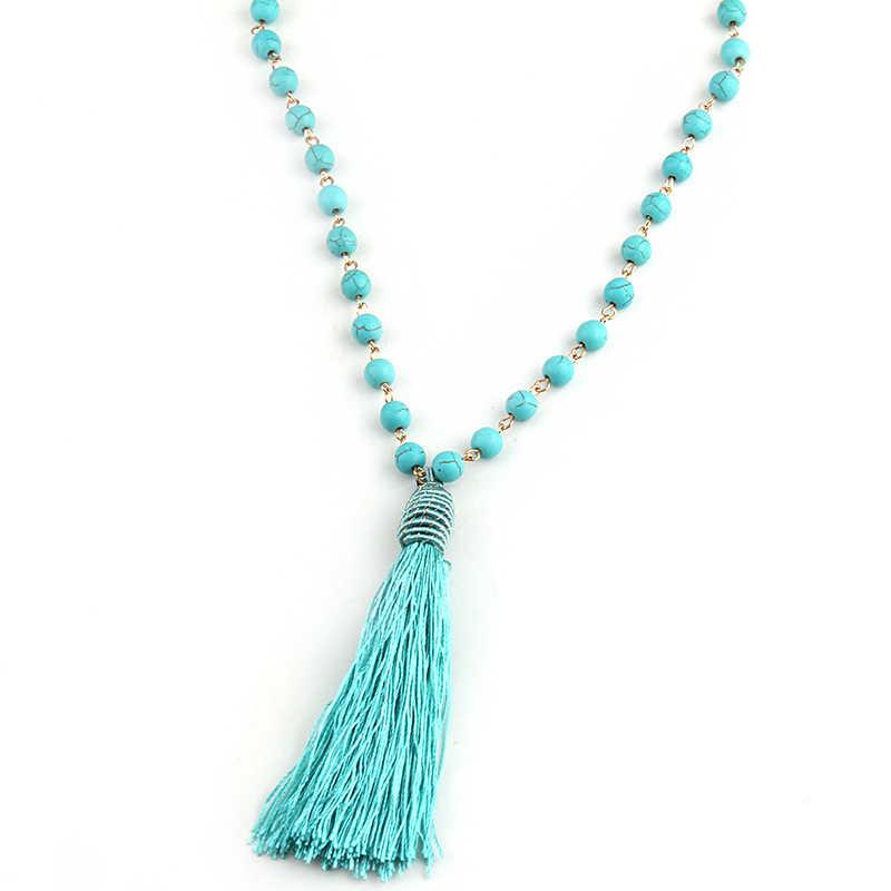 MOODPC Fashion Bohemian Tribal Artisan Jóias Colar de Turquesas Azul agulha de Pedra Borla Mulheres