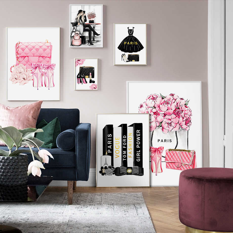 Fashion Book Paris Perfume Dress Lipstick Wall Art Canvas Painting Nordic Posters And Prints Wall Pictures For Living Room Decor
