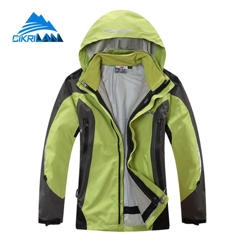 ФОТО Cikrilan New Hiking Trekking Ski Chaquetas Mujer Outdoor Sport Camping 2in1 Winter Jacket Women Windstopper Water Resistant Coat