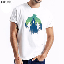 YOFOCOO Male Marve T-Shirt The Avengers Print O-Neck T Shirt Men Cotton Short Sleeves Casual T-Shirts Tops Tees