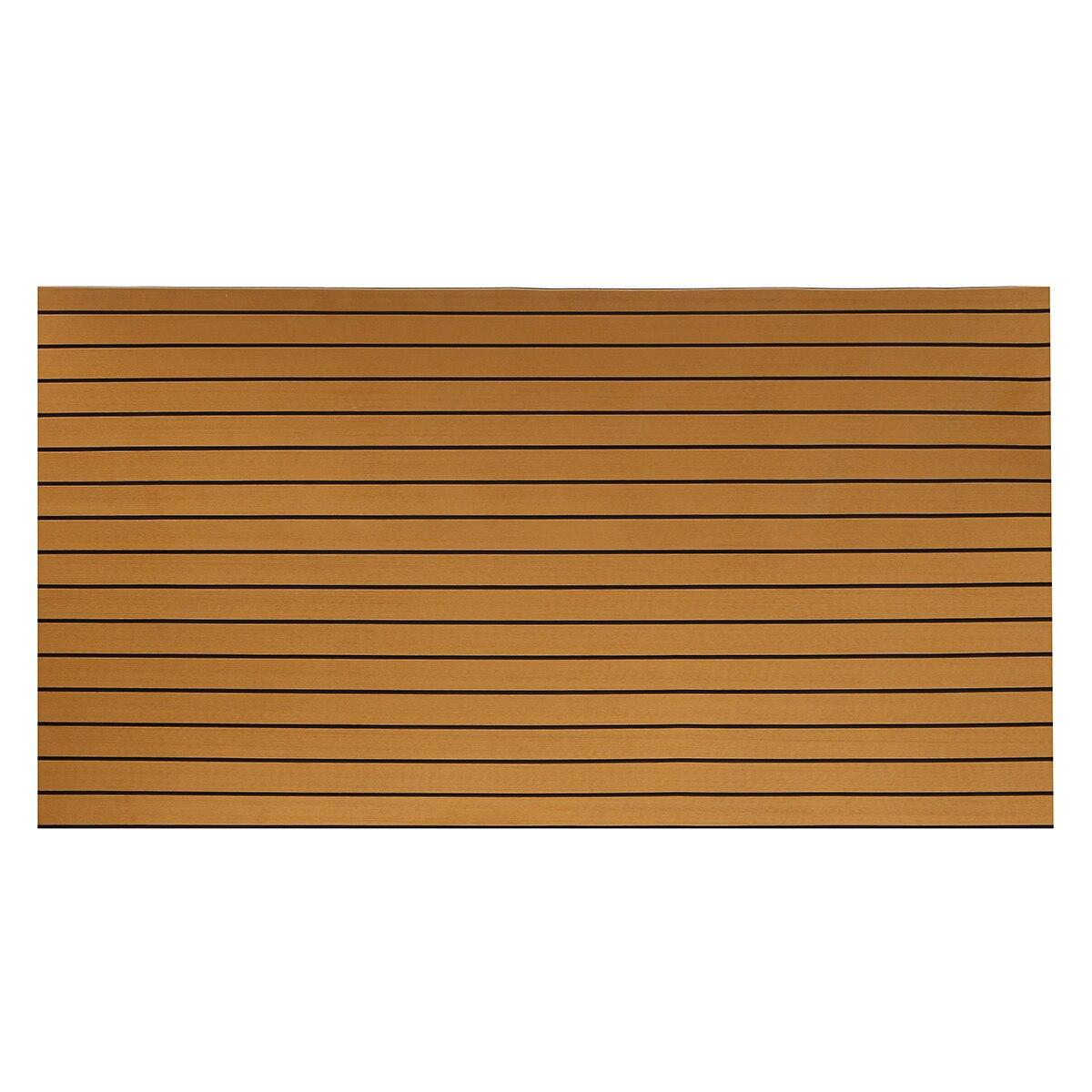 240cmx90cmx5mm Self-Adhesive Gold With Black Lines Marine Flooring Faux Teak EVA Foam Boat Decking Sheet
