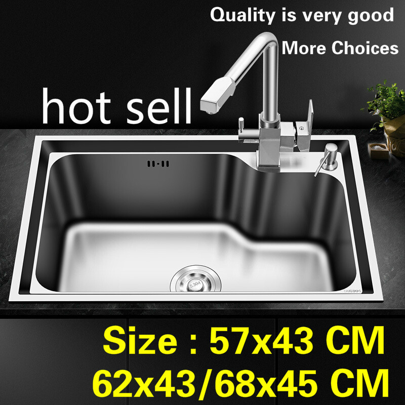 Free shipping Household luxury fashion kitchen single trough sink food-grade 304 stainless steel hot sell  57x41/62x43/68x45 CMFree shipping Household luxury fashion kitchen single trough sink food-grade 304 stainless steel hot sell  57x41/62x43/68x45 CM