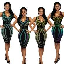 Для женщин Лонгслив платье Дашики Африканский SleevelesNeck эластичный пояс тонкий с принтом IrregularBag бедра платье африканские платья для Для женщин