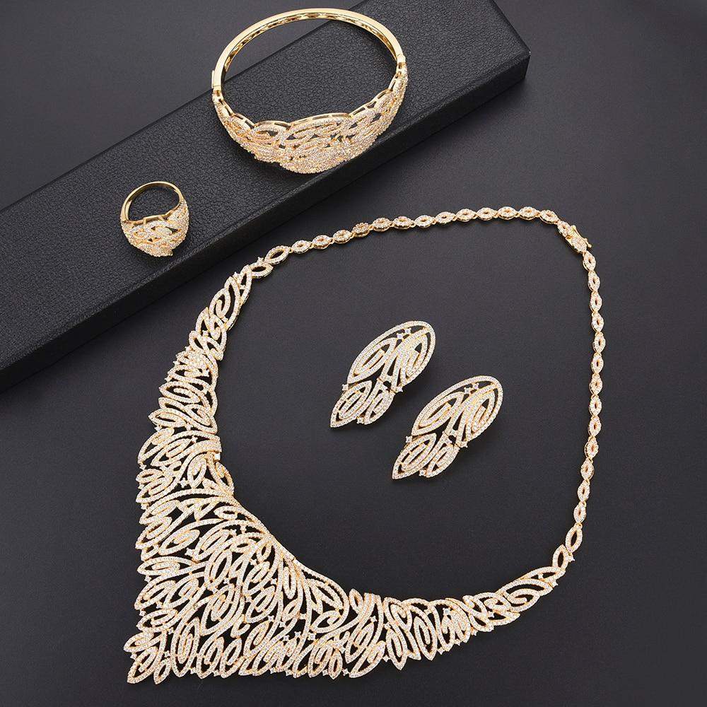 4PCS Fashion Leaves dubai gold jewelry sets for women earings Necklace Earrings Bangle Ring fashion jewelry bijuteria feminina4PCS Fashion Leaves dubai gold jewelry sets for women earings Necklace Earrings Bangle Ring fashion jewelry bijuteria feminina