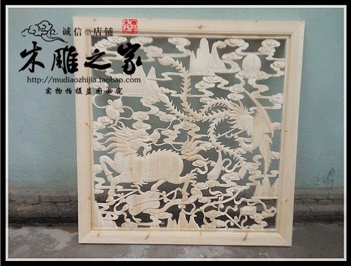 kylin phoenix chinos antiguos dongyang talla de madera colgante murales tallados puertas y ventanas de