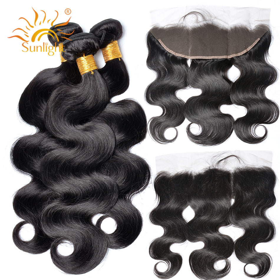 Sunlight Human Hair Bundles With Lace Frontal Non Remy Brazilian Body Wave Hair Weave 3 Bundles With Closure 1b# Free Shipping