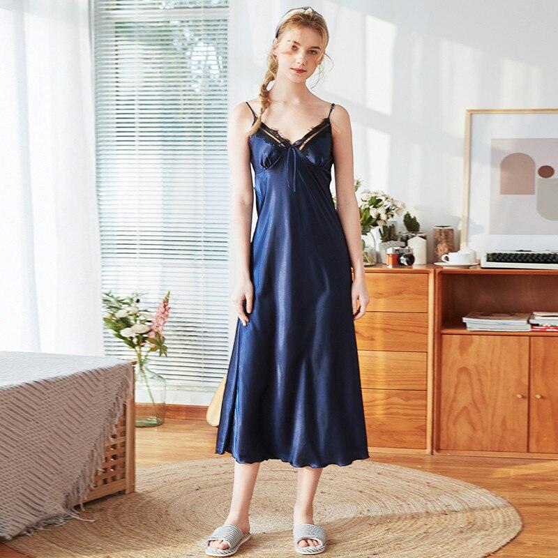 Roseheart Women Fashion Red Blue Sexy Female Sleepwear Nightdress Faux Silk Lace V Neck Nightwear Sleepshirts Nightgown Female in Nightgowns Sleepshirts from Underwear Sleepwears