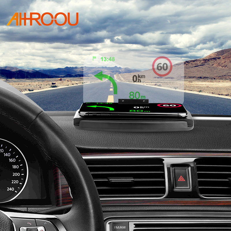 AHHROOU 2 in 1 HUD Qi Wireless Car Phone Charger Mount Car Phone Holder Stand Head Up Navigation Display Holder Charging Dock