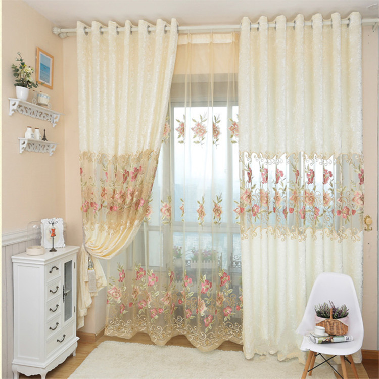 Huayin Velvet Linen Curtains Tulle Window Curtain For: Free Shipping Luxury Ice Velvet Embroidered Flower