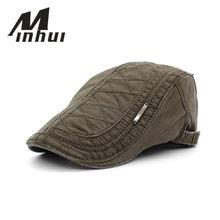 9660ed1261f4b Minhui 2016 nuevos algodón Beret sombreros unisex casquillos planos del  verano vendimia de las mujeres de los hombres casquette .