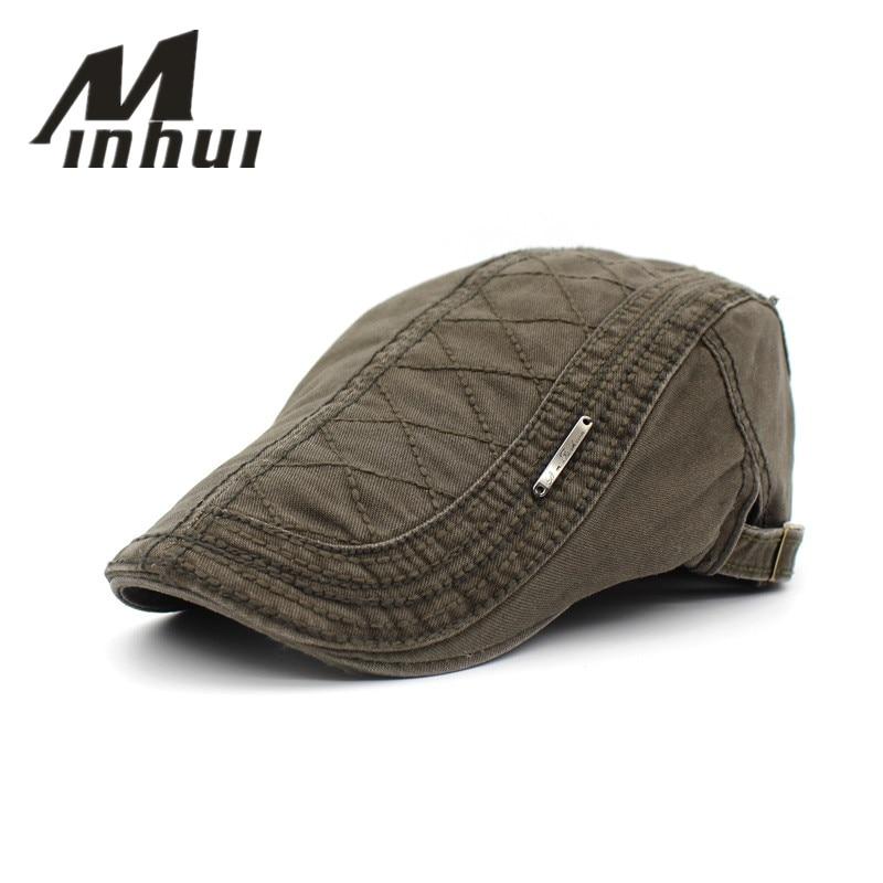 Minhui 2016 New Cotton Beret Hats Unisex Summer Flat Caps Men Women Vintage Casquette Gorras Planas Boinas Berets Mens Hat