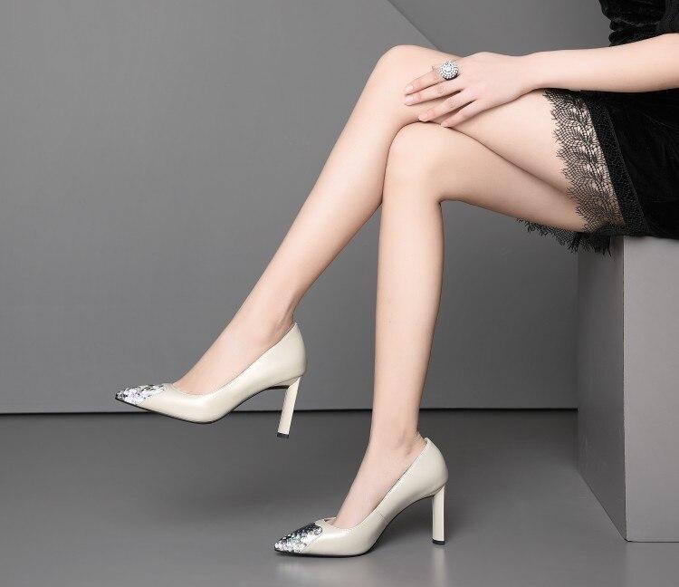Femme chaussures talons aiguilles femme escarpins bout pointu peu profond T Stage noir/Nude véritable cuir robe de mariée talons - 6