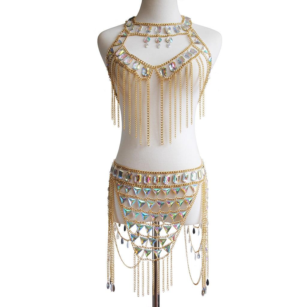 Sexy Nightclub Body Chain Fashion Beach Hanging Neck Suit Women Multi layer Stitching Retro Waist Chain Belly Chain