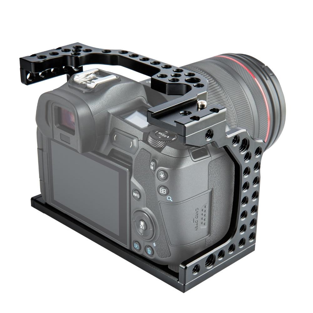 Film vidéo en aluminium de Cage de caméra faisant le stabilisateur de plate-forme pour le Canon EOS R avec le support froid de chaussure pour le moniteur magique de Microphone de bras