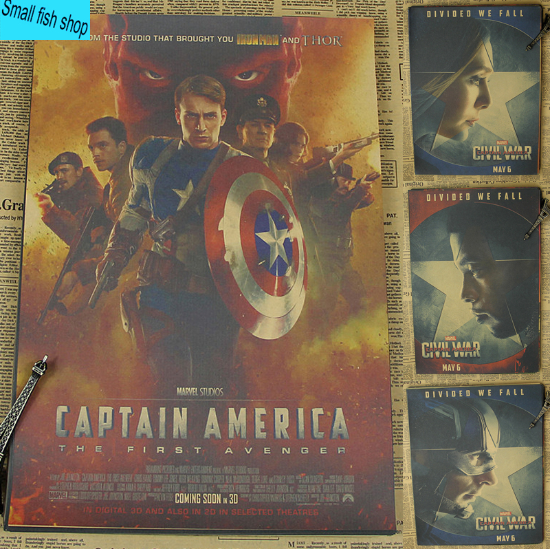 Captain America Civil War Movie Poster Home Furnishing decoration Kraft Movie Poster Drawing core Wall stickers image
