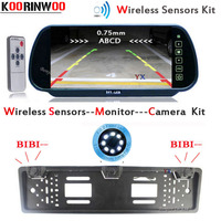 Koorinwoo 2019 Wireless EU European Car License Plate Holder Camera Car Rear View Camera Two Reversing Radars With Car Monitor