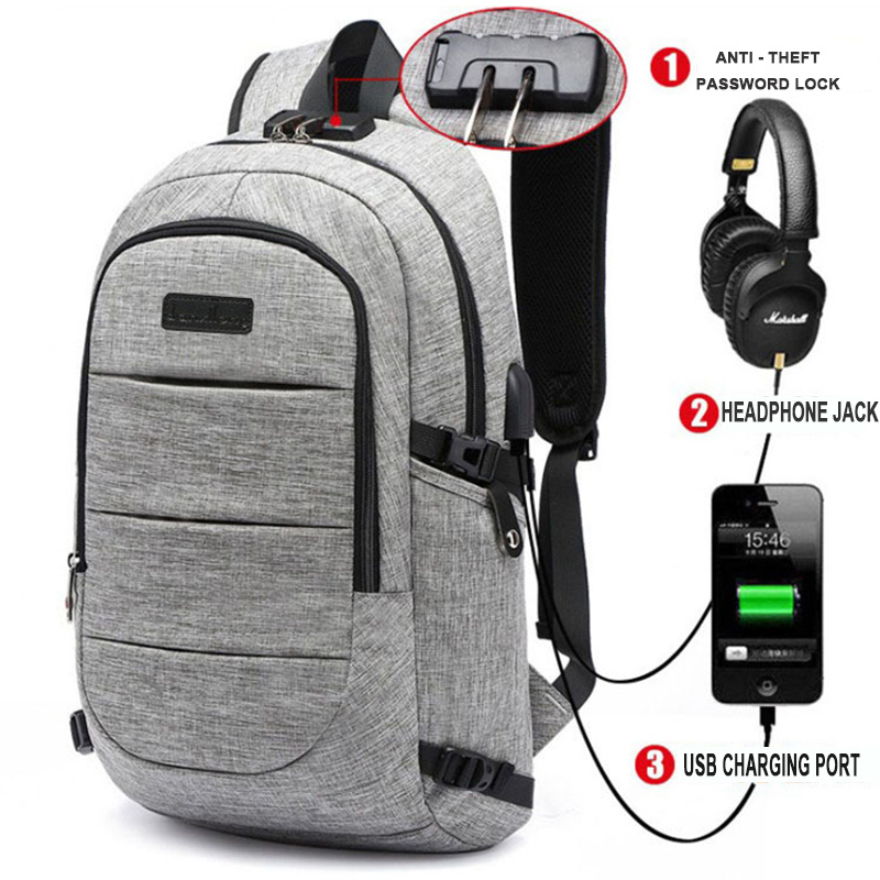 Nice Usb Charging Anti-theft Backpack Men's 15.6inch Laptop Backpack For Teenagers Casual School Bags Waterproof Travel Male Mochi Luggage & Bags