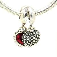 Fits for pandora Bracelet 925 Sterling Silver Charms Red Enamel Mother Daughter Charm Pendant DIY Making Bracelets Jewelry