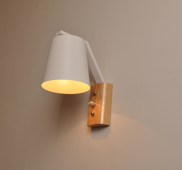 Indoor Wall Mounted Led Wall Sconce E27 Socket, Built In Switch Wood Base  Wall