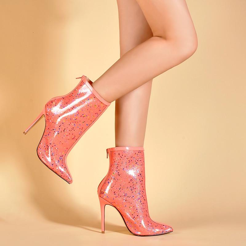 Mujeres Claros Estrellas Perspex Sinsaut pink Botas Dulcemente Impermeable Alto Impresión Tacón Para Pvc Black Zapatos Niñas De Mujer Tobillo F76Fxzq8